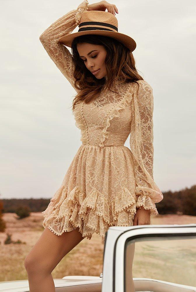 Eliff Koronkowa Sukienka W Stylu Boho Bezowa Sklep Z Sukienkami Lou